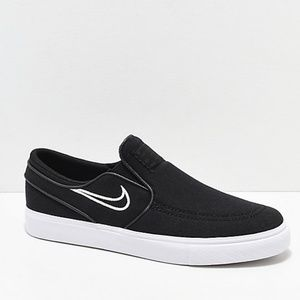 Nike SB Janoski Black & Bone Canvas Slip-On Shoes